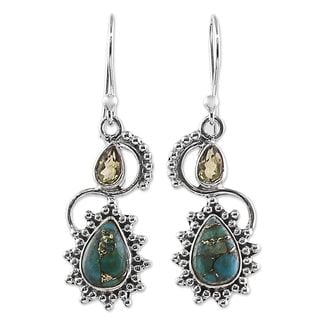 Handcrafted Sterling Silver 'Sparkling Drops' Citrine Composite Turquoise Earrings (India)