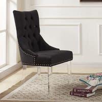 Armen Living Gobi Tufted Dining Chair in Velvet with Acrylic Legs