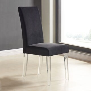 Armen Living Dalia Black/Grey Acrylic/Velvet Modern and Contemporary Dining Chair with Acrylic Legs (Set of 2)