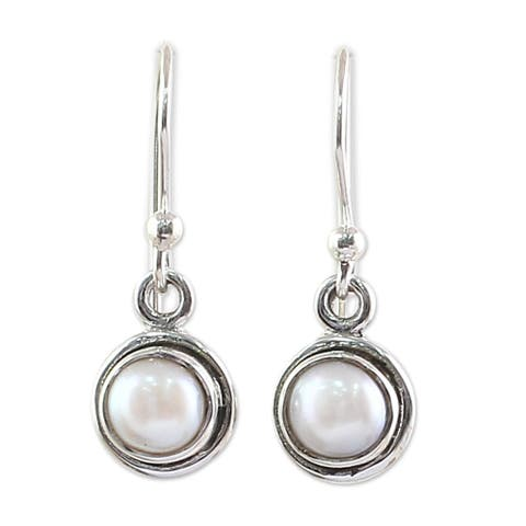 NOVICA Handmade Sterling Silver Purest Love Cultured Pearl Earrings (India)