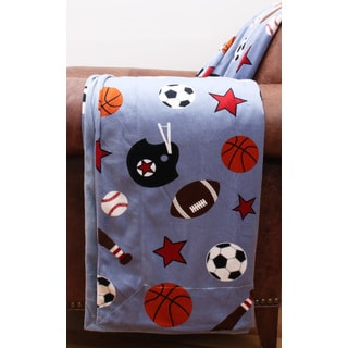 Blue Microplush Printed Sports Throw