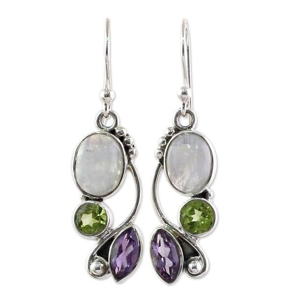 Handmade Sterling Silver 'Natural Glamour' Multi-gemstone Earrings (India) - White