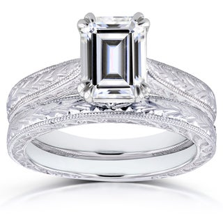 Annello by Kobelli 14k White Gold 1 3/4ct Emerald Moissanite (HI) and Diamond Accent Cathedral Bridal Rings Set