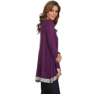 Women's Rayon/Spandex Color Block Long Body Tunic
