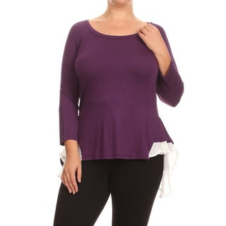 Women's Solid-colored Rayon/Spandex Plus-size Block-layer Tunic