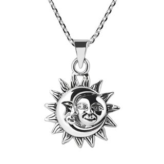 Handmade Glinting Celestial Sun And Moon Sterlng Silver Necklace (Thailand)
