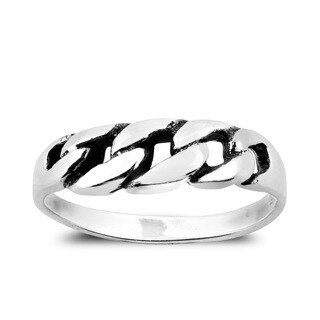 Handmade Eternity Curb Link Chain Design Sterling Silver Ring (Thailand)