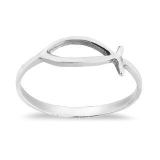 Handmade Simple Plain Ichthys Christian Fish Sterling Silver Everyday Ring (Thailand)