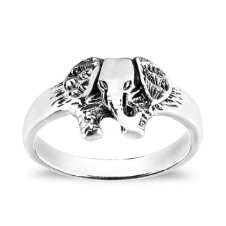Jungle Elephant Face Sterling Silver Everyday Ring (Thailand)