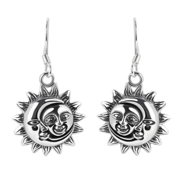 Handmade Glinting Celestial Sun And Moon Sterling Silver Dangle Earrings (Thailand)