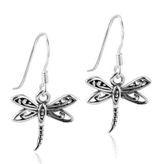 Flying Filigree Dragonfly Sterling Silver Dangle Earrings (Thailand)