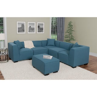 CorLiving Lida 6pc Fabric Sectional and Ottoman Set