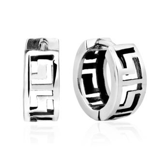 Greek Key Pattern Sterling Silver 14mm Huggie Hoop Earrings (Thailand)