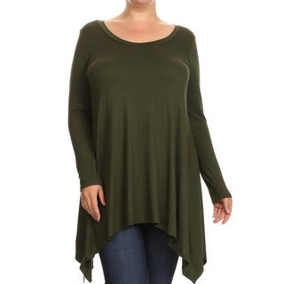 Women's Rayon and Spandex Plus-size Solid Tunic