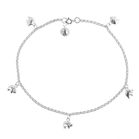 Handmade Adorable Shiny Elephant Jingle Bell Charm Sterling Silver Anklet (Thailand)