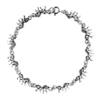 Handmade Mystical Running Unicorn Link .925 Sterling Silver Bracelet (Thailand)