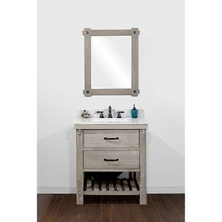 Infurniture Rustic Style Brown Recycled Fir and Quartz Marble 30-inch Single-sink Bathroom Vanity
