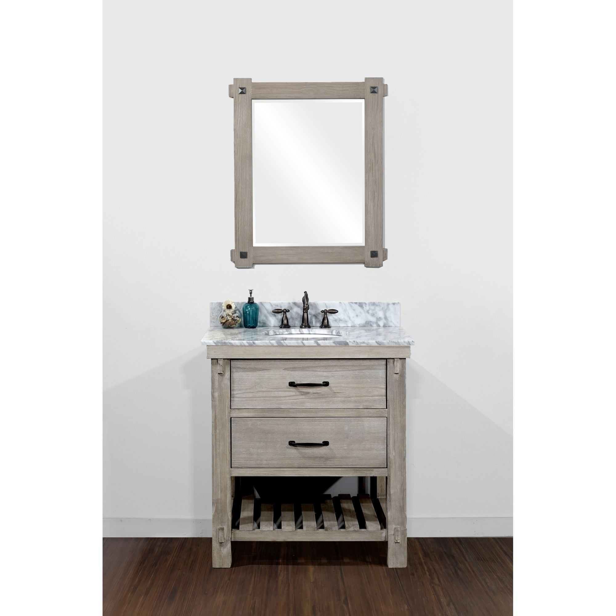 Infurniture Rustic Style 30 Inch Single Sink Bathroom Vanity Overstock 13189378
