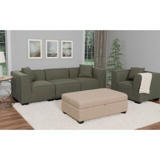 CorLiving Lida 4pc Fabric Sectional Sofa and Chair Set