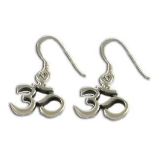 Handmade Sterling Silver 'Om' Dangle Earrings (Thailand)