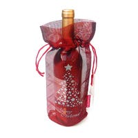 Handmade Translucent Tissue 'Merry Christmas' Wine Bags (Pack of 10) (India)