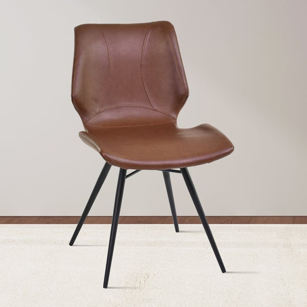 Brown Leather Maxwell Metal Dining Chair: Shop Armen Living Zurich Grey/Brown Metal/Faux-leather