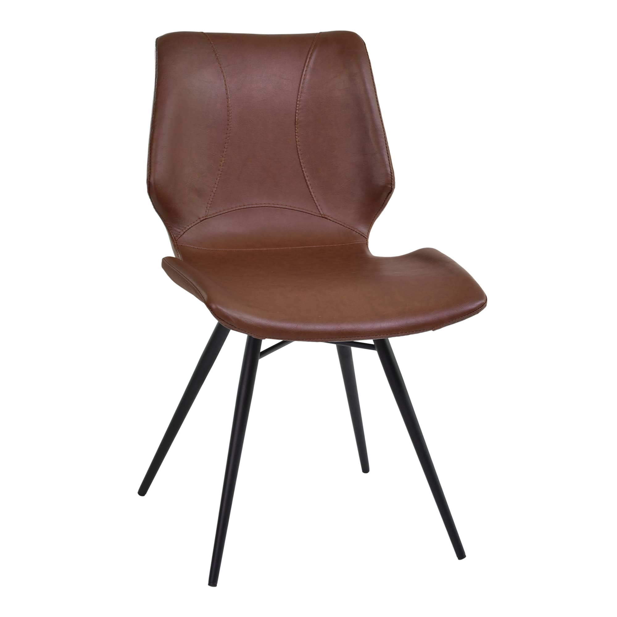 Brown Leather Maxwell Metal Dining Chair: Armen Living Zurich Grey/Brown Metal/Faux-leather Vintage