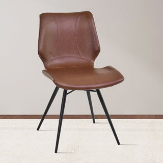 Armen Living Zurich Grey/Brown Metal/Faux-leather Vintage Dining Chair (Set of 2)
