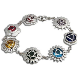 Sterling Silver Seven Chakra Bracelet (Thailand)