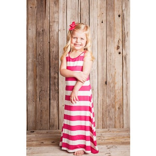 Hot Pink Striped Maxi Dress