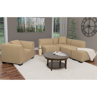 CorLiving Lida 5pc Fabric Sectional Chaise and Chair Set