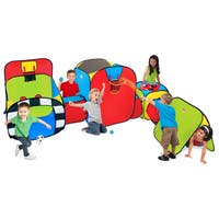 Play Hut Super Playground Red, Green, and Blue Polyester Play Tent