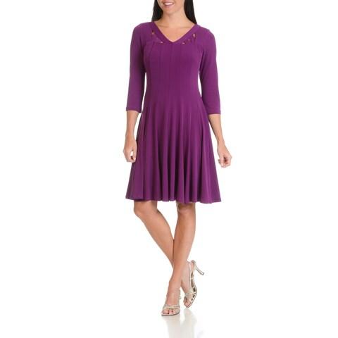 Rabbit Rabbit Rabbit Designs Women's Polyester/Spandex Cut-out Neckline Knee-length Dress
