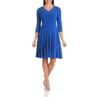 Rabbit Rabbit Rabbit Designs Women's Polyester/Spandex Cut-out Neckline Knee-length Dress