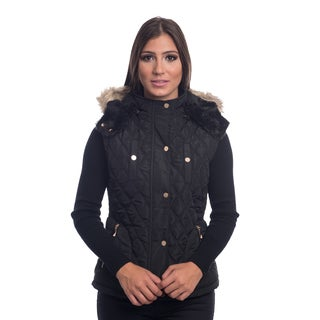 Ladies Quilted Fur Lined Zip Up Detachable Vest With Suede Piping Pockets By Special One
