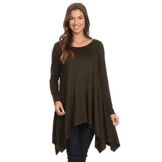 Women's Solid Color Polyester and Spandex Oversize Tunic