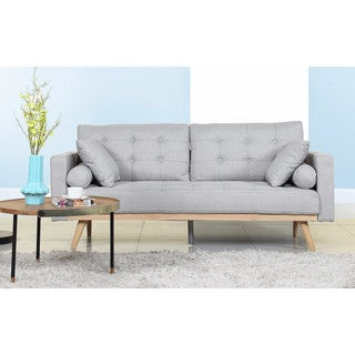 Mid-Century Modern Tufted Linen Fabric Sofa