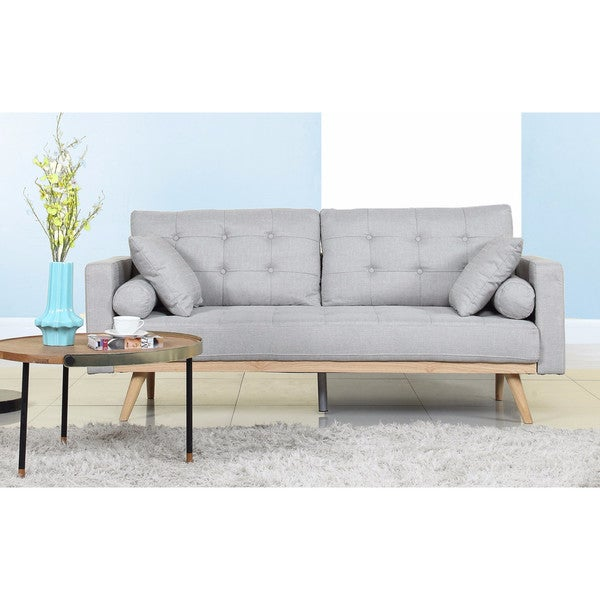Shop Tufted Linen Mid-century Modern Sofa - Ships To Canada ...