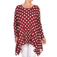 Women's Polyester/Spandex Plus Size Polka Dot Tunic