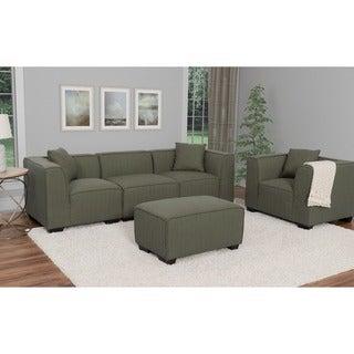 CorLiving Lida 5pc Fabric Sectional Sofa, Chair And Ottoman Set
