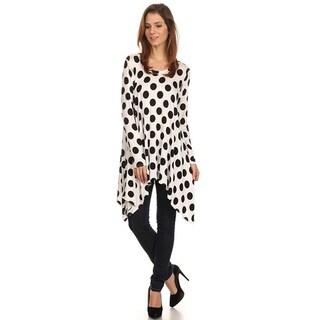 Women's White/Black Polyester/Spandex Large Polka Dot Tunic