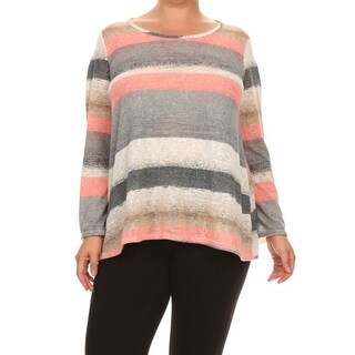 Women's Multicolor Polyester and Spandex Plus-size Striped Tunic (5 options available)