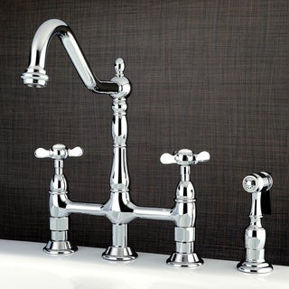 Victorian High Spout Cross-Handles Bridge Kitchen Faucet with Side Sprayer