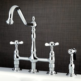 Victorian Cross-Handle Bridge Kitchen Faucet with Side Sprayer