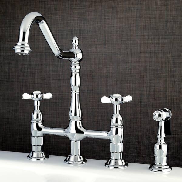 Shop Victorian Cross-Handle Bridge Kitchen Faucet with Side ...