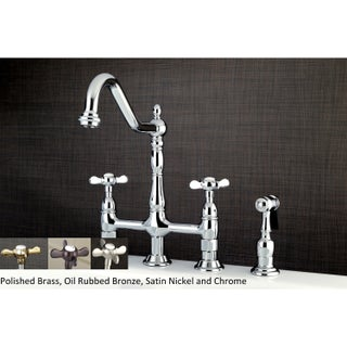 Victorian High Spout Cross-Handle Bridge Kitchen Faucet with Side Sprayer (Option: Silver - Grey Finish)