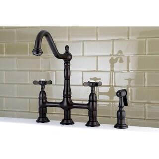 Victorian High Spout Cross-Handle Bridge Kitchen Faucet with Side Sprayer