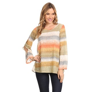 Women's Striped Polyester/Spandex Crew Neck Tunic