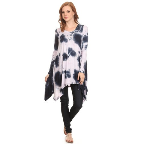 Women's Abstract Rayon/Spandex Tie Dye Tunic