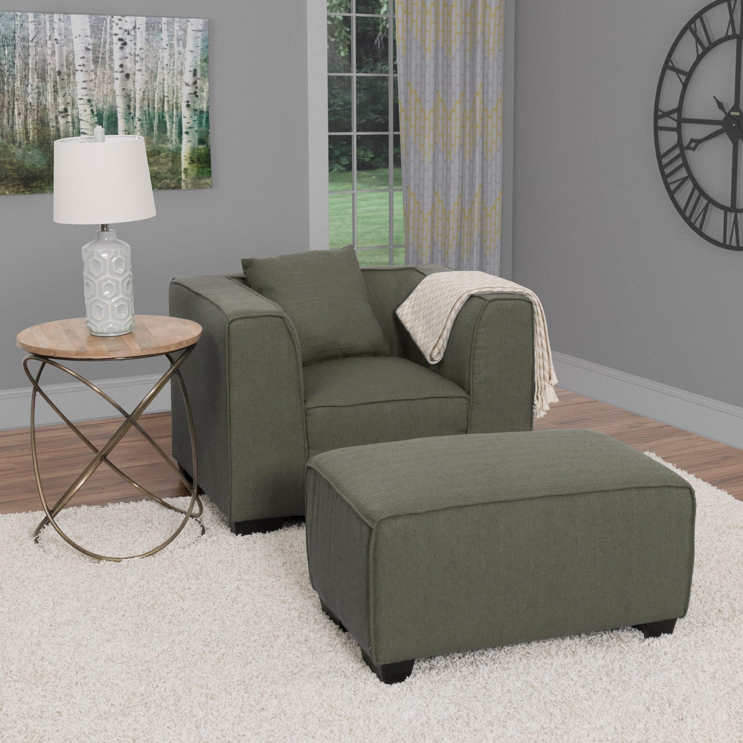 CorLiving Lida 2pc Fabric Chair and Ottoman Set (Green)